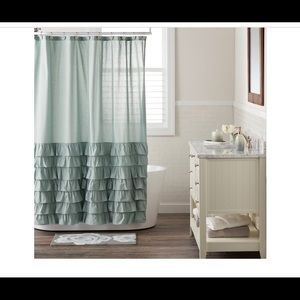 LC Lauren Conrad Elle ruffle shower curtain blue